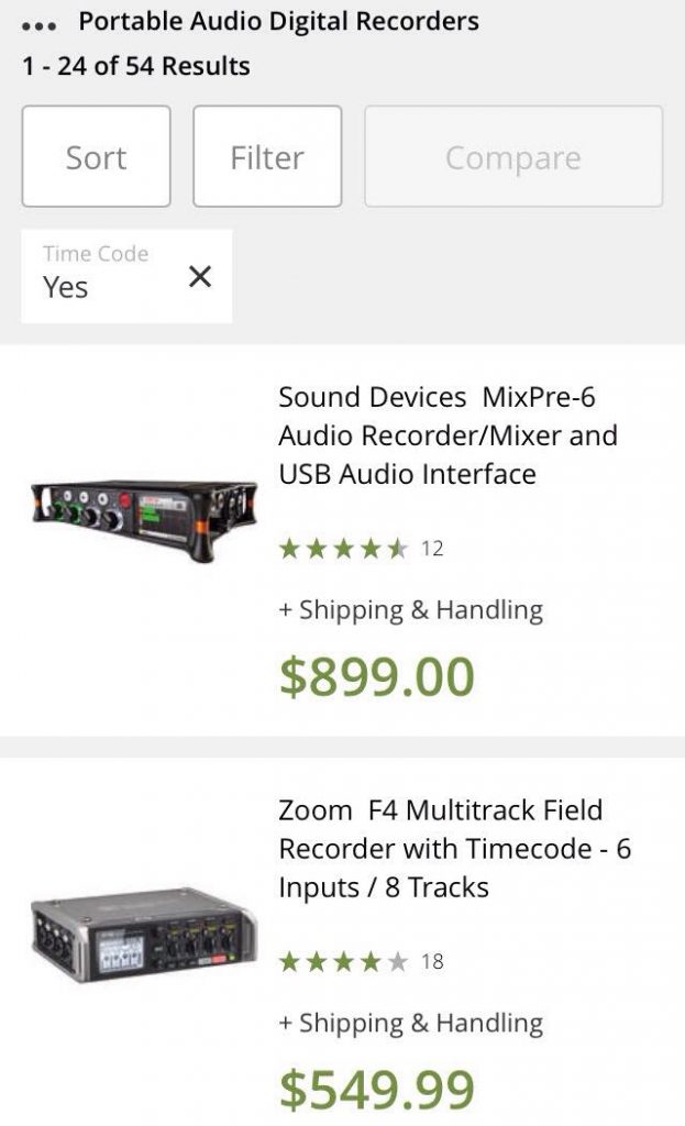 Sound Recorders with Timecode Ranking